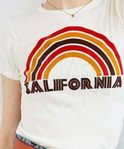 Cheap California Flocked Rainbow Urban T Shirt