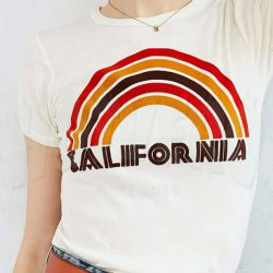 Cheap California Flocked Rainbow Urban T Shirt