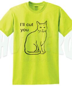Cute Kitten Saying I'll Cut You Yellow T Shirt