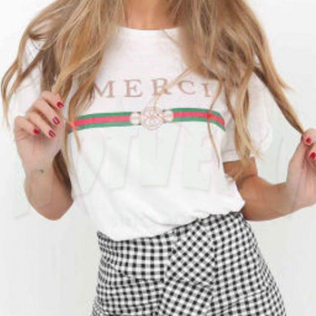 aaa077353 Merci Women Classic T Shirt, GC Parody Tee - HotVero