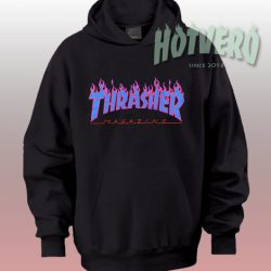 Thrasher Purple Blue Flame Hoodie Streetwear