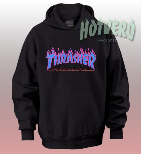 Thrasher Purple Blue Flame Hoodie Streetwear
