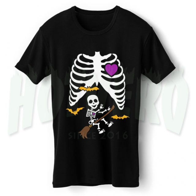Baby Broom Witch Skeleton Maternity Halloween T Shirt