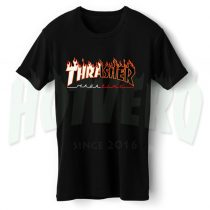 Thrasher Flame Symbol Black And White T Shirt