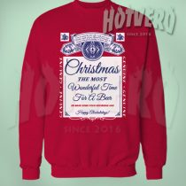 Christmas Wonderful Time For Beer Unisex Sweatshirt