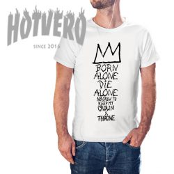 Born Alone Die Jean Michel Basquiat Crown Quote T Shirt