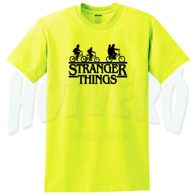 Stranger Things Bicycle Silhoutte Yellow T Shirt