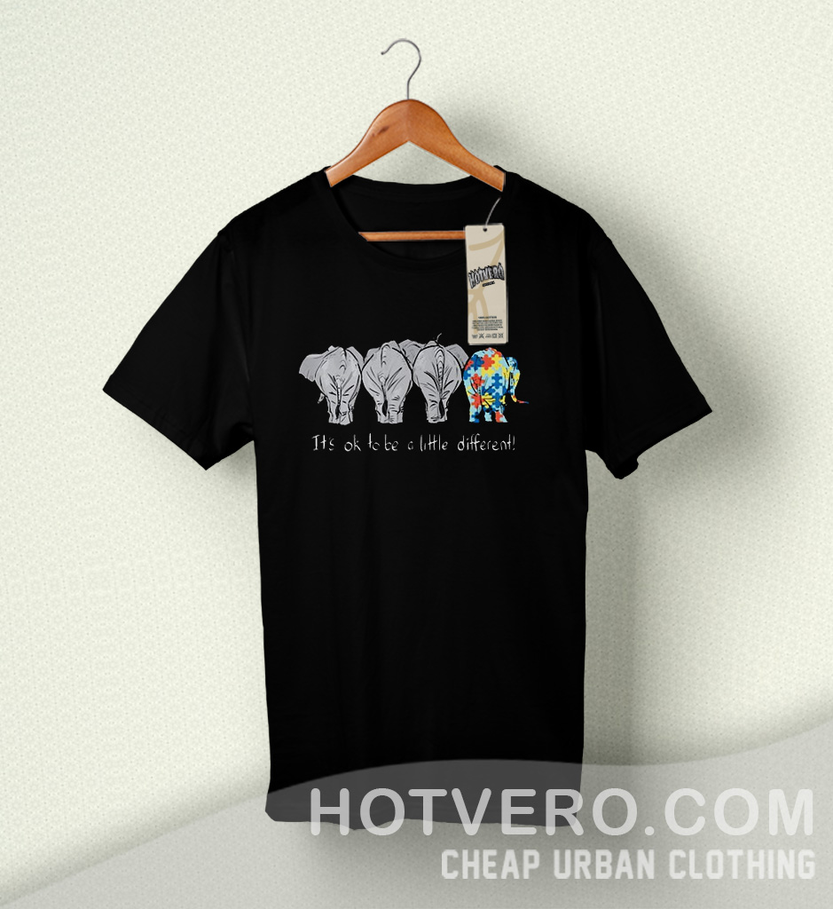 4aa93e7e7f88 Autism Elephant it s ok to be a little Cute T Shirt - HotVero