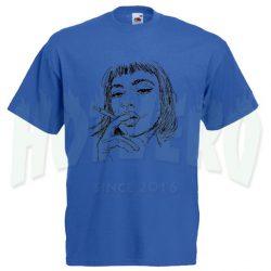 Girl Smoke Sketch Grunge T Shirt Design