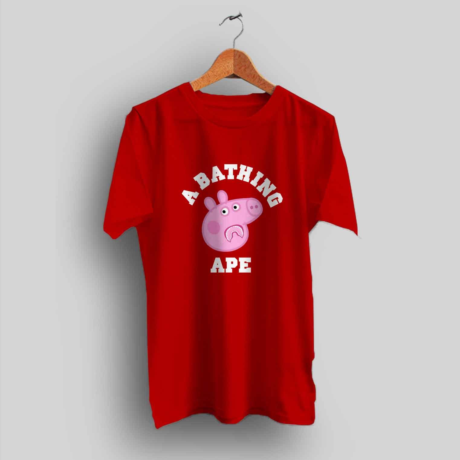 42cae59aa97e Funny Peppa Pig X Bape Shark T Shirt Collaboration - HotVero.com