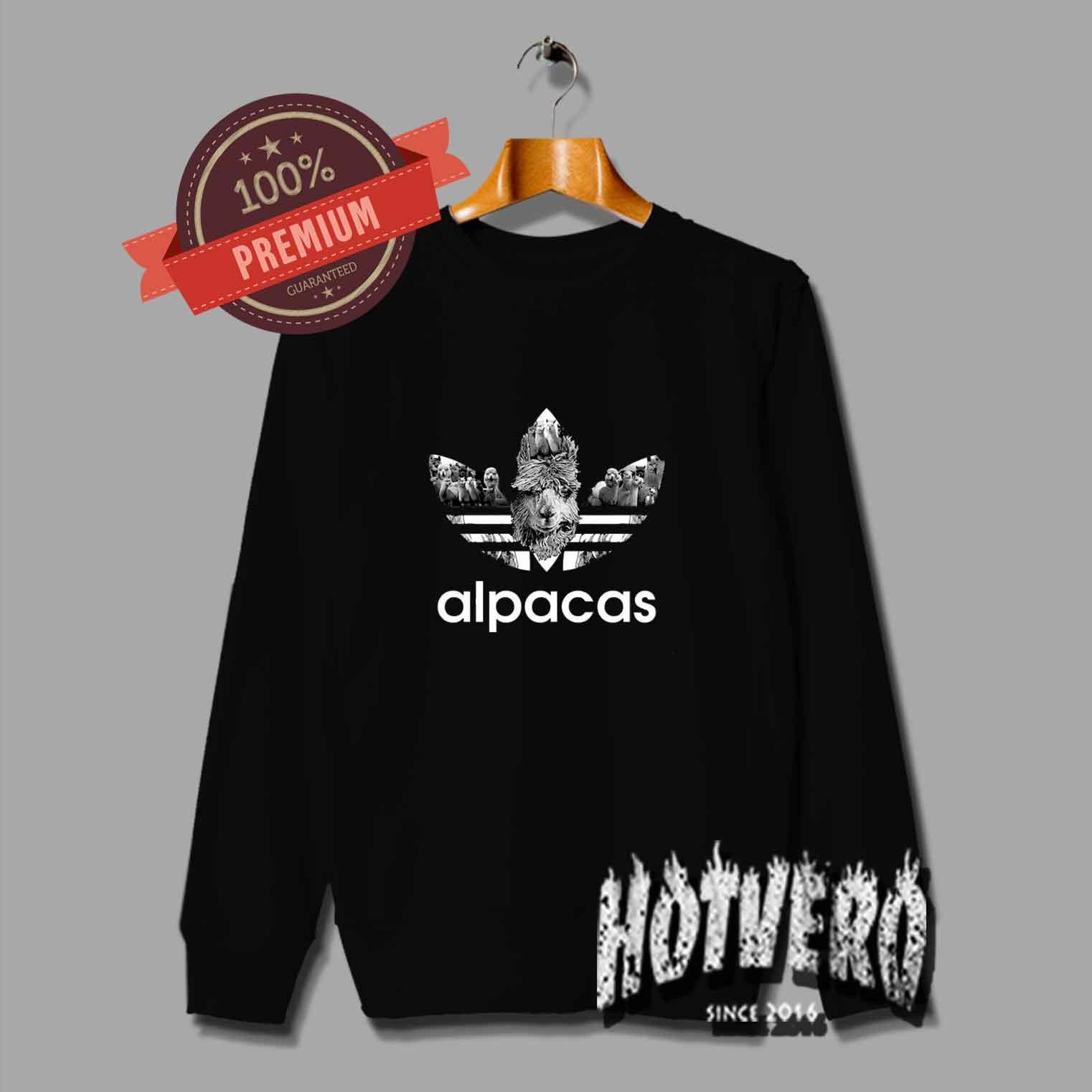 27bb39e42a Funny Alpacas Adidas Parody Sweatshirt by Hotvero.com