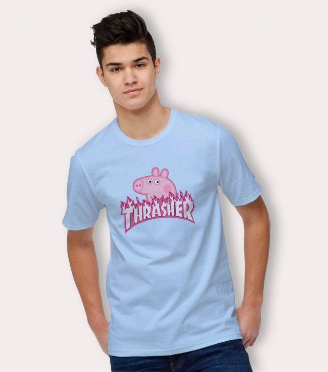 Thrasher X Peppa Pig T Shirt Light Blue