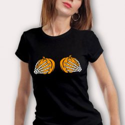 Cheeky Woman's Pumpkin Breast Halloween T Shirt