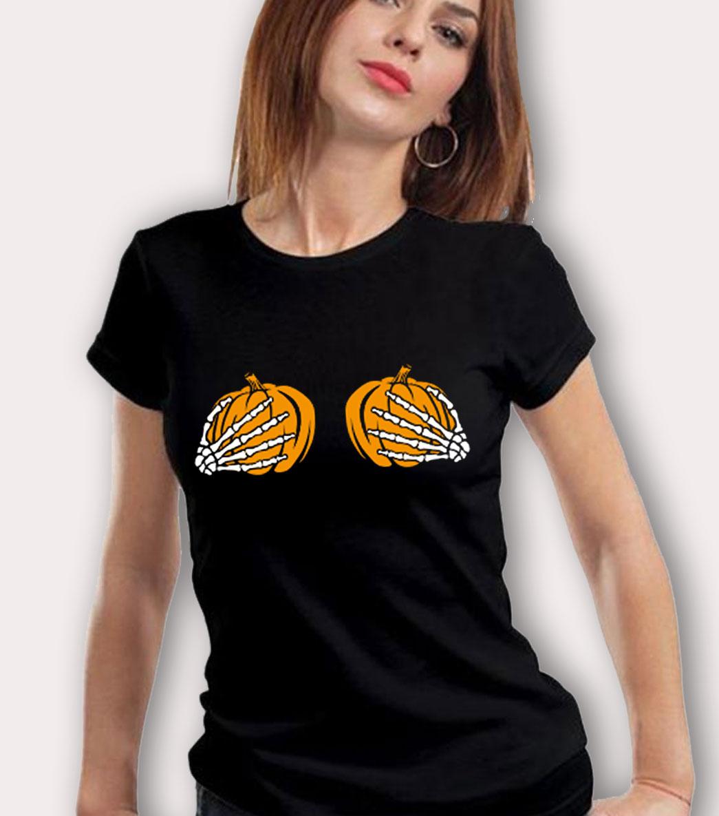 d8e10da1c Cheeky Woman's Pumpkin Breast Halloween T Shirt - HotVero