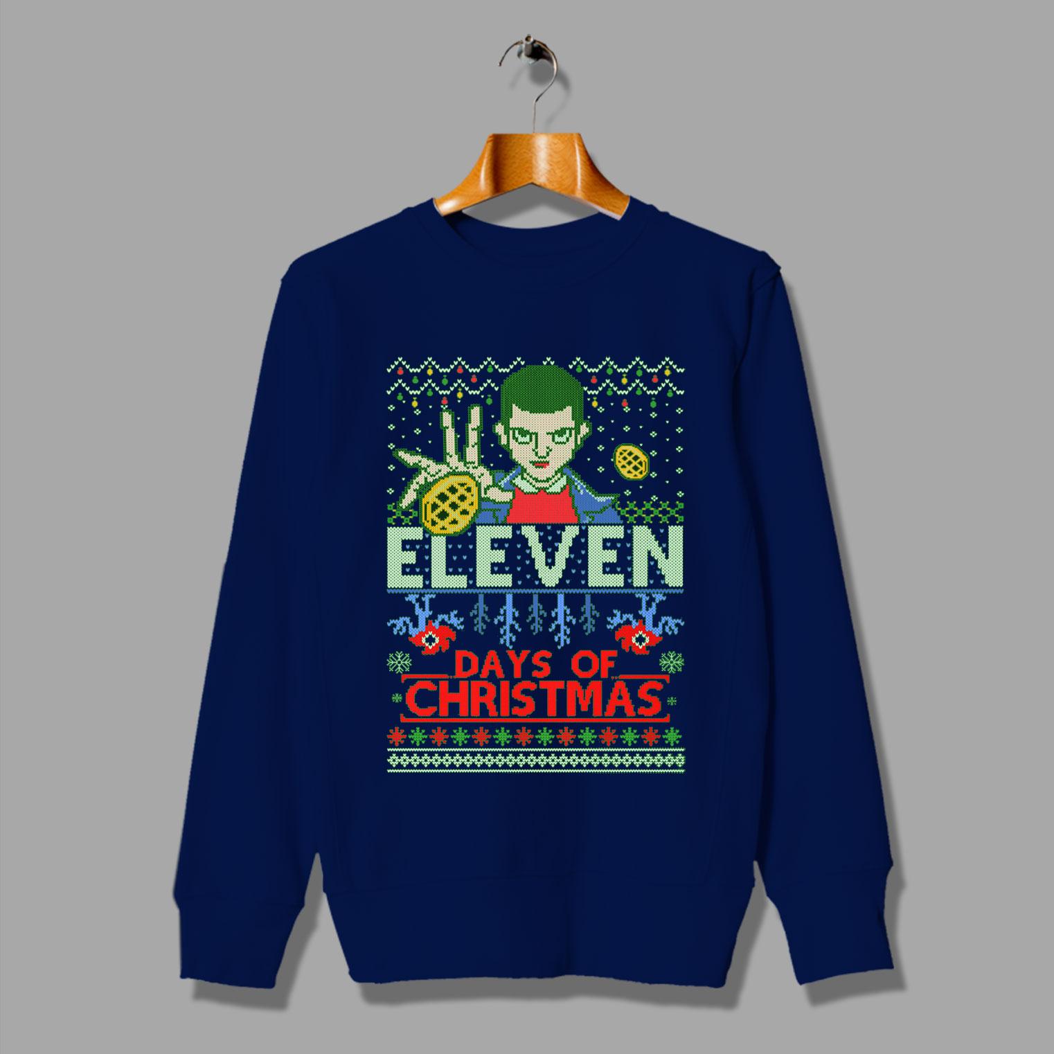 Stranger Things Christmas Sweater.Stranger Things Eleven Days Of Christmas Sweater By Hotvero Com