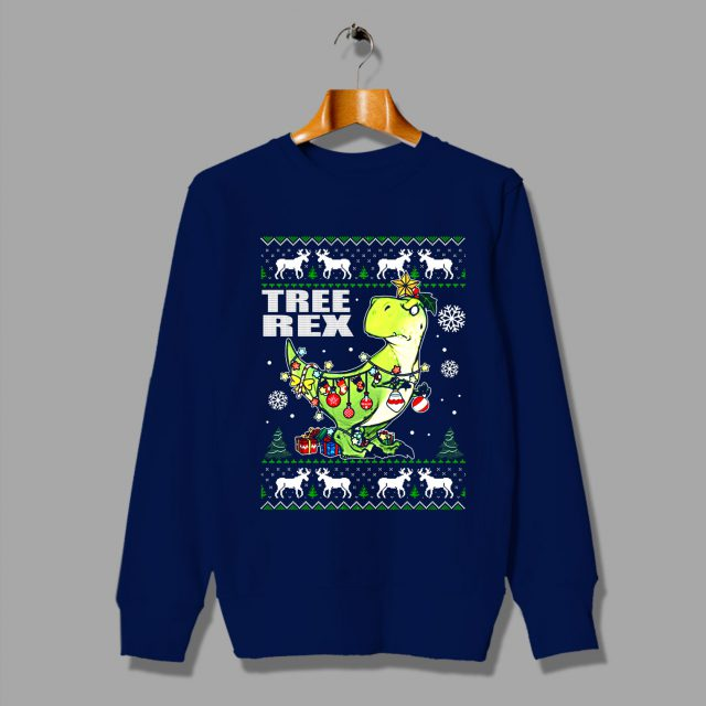 Funny Dino Christmas Tree Rex Ugly Sweatshirt