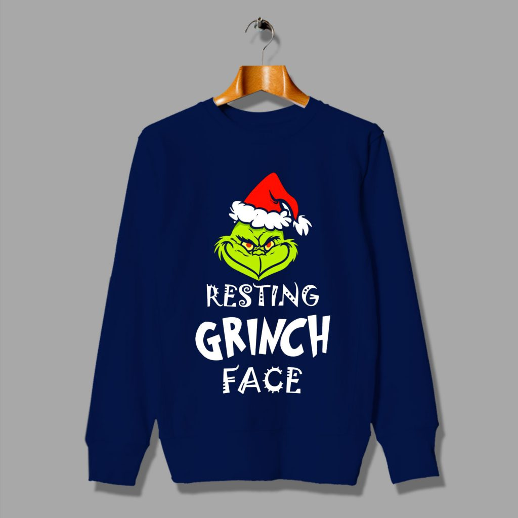 Resting Grinch Face Ugly Christmas Sweater By Hotvero Com