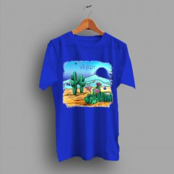 Blue American Cactus Print Gift T Shirt