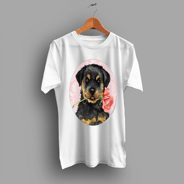Cute Valentine Rose Rottweiler Classic Gift Lovers T Shirt
