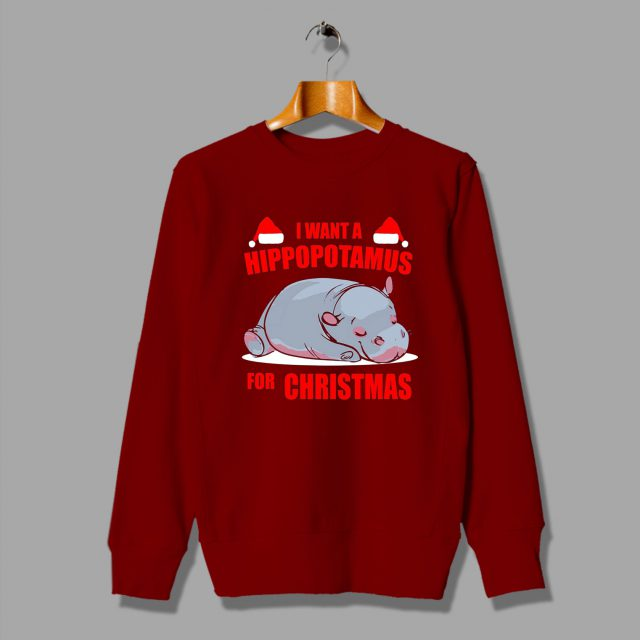 I want a Hippopotamus for Christmas Funny Sweatshirt