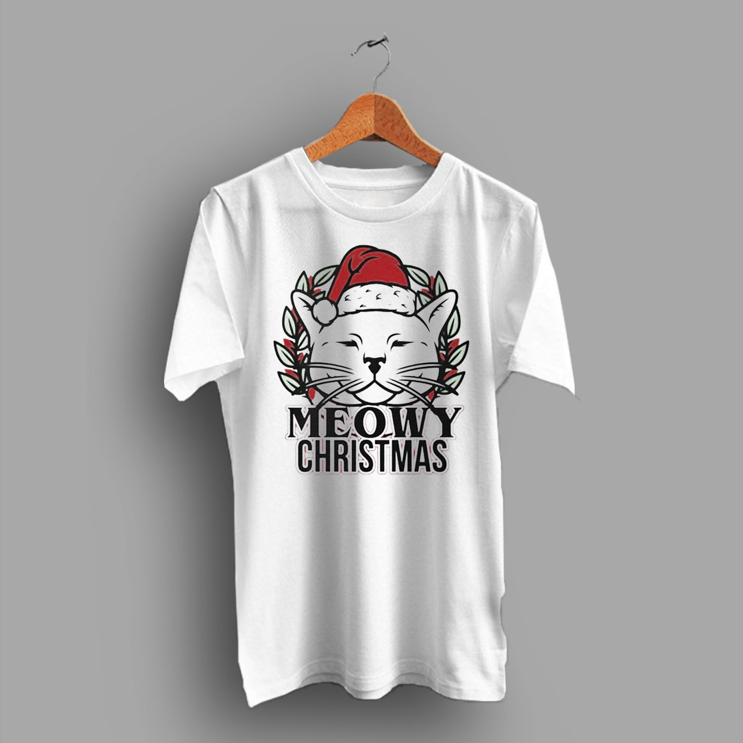 73ae176e6 Meowy Christmas Cat T Shirt - HotVero.com