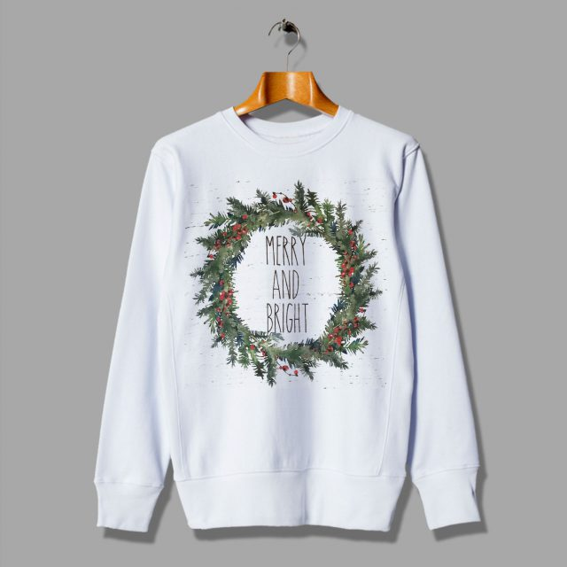 Merry and Bright Gift for Her Trendy Christmas Sweatshirt