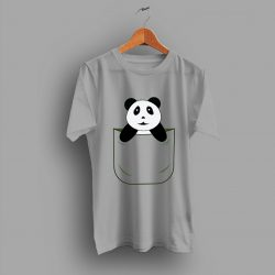 Simple Cute Panda Pocket Funny T Shirt