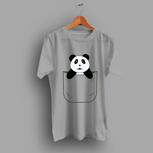 Simple Cute Panda Pocket Funny T Shirt