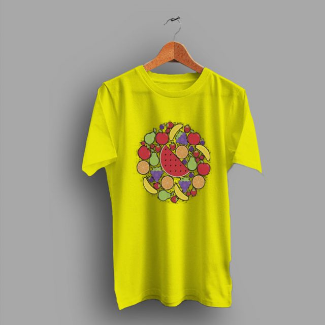 Allover Summer Fruit Print Cute T Shirt