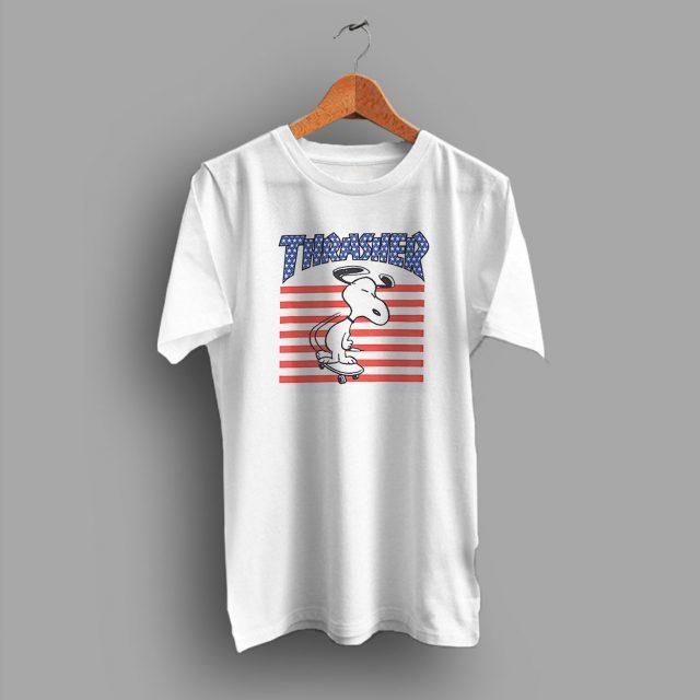 Awesome Snoopy USA Skateboard Parody T Shirt
