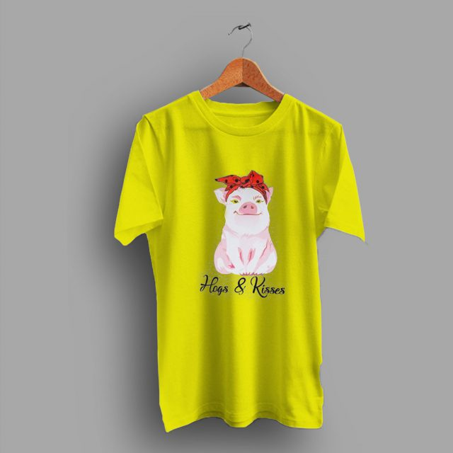 Bandana Farm Country Hogs Kisses Cute T Shirt