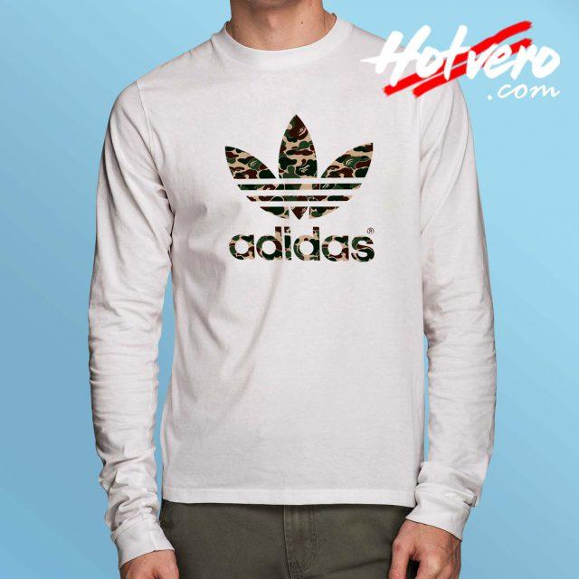 Cheap Bape Camo Adidas Collabs Long Sleeve Shirt