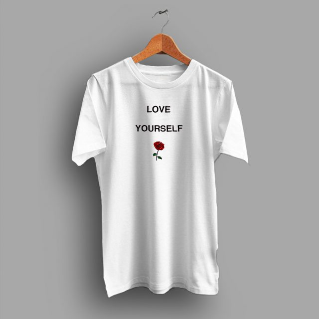 Cheap Love Yourself Rose Flower Graphic T Shirt