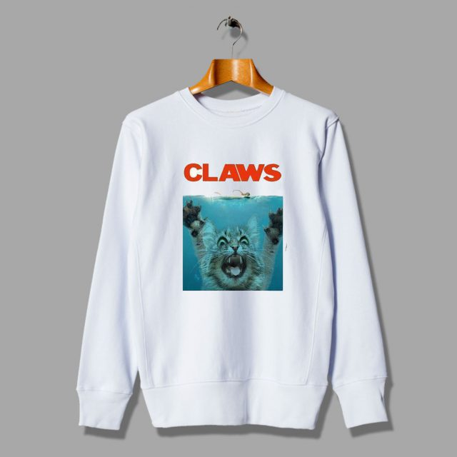 Claws Jaws Vintage Movie Parody Sweatshirt
