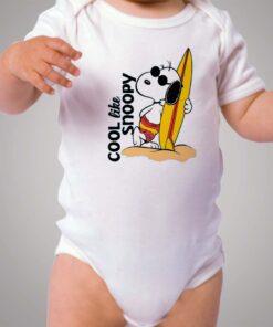 Cool Like Snoopy Surfing Baby Onesie Bodysuit