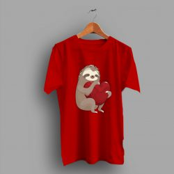 Cute Heart Beating Slouth Heart T Shirt