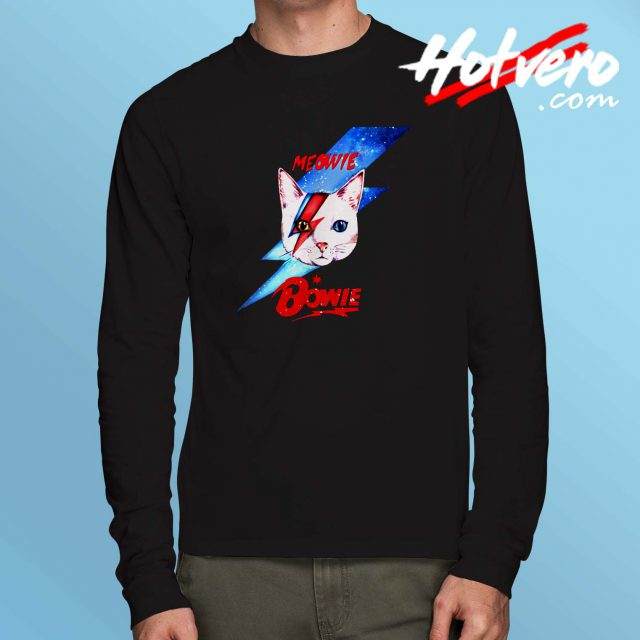 Cute Meow David Bowie Inspired Long Sleeve T Shirt