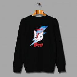 Cute Meowie Cat David Bowie Inspired Sweatshirt