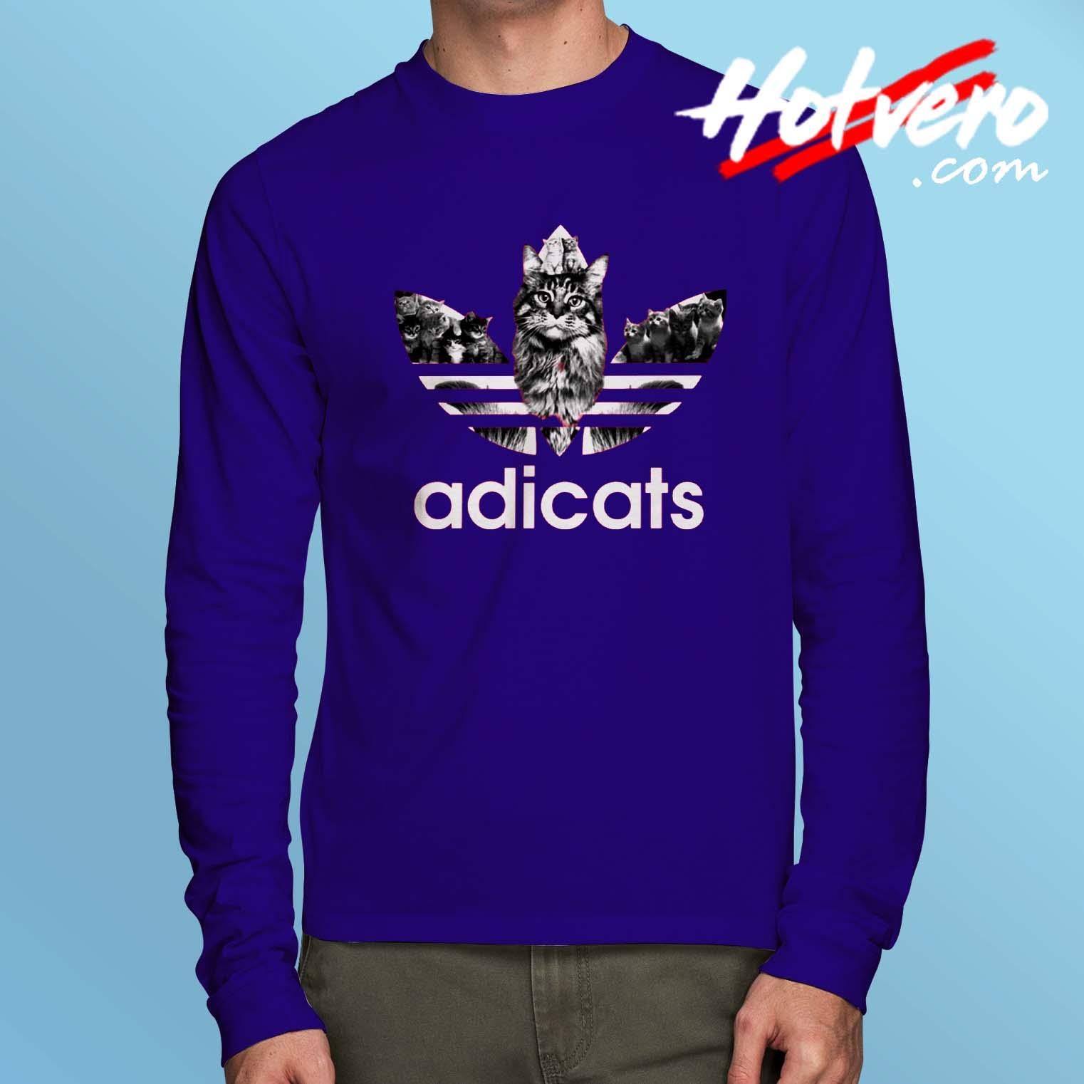 f2afb24b25 Funny Adicats Adidas Parody Long Sleeve T Shirt - Hotvero.com