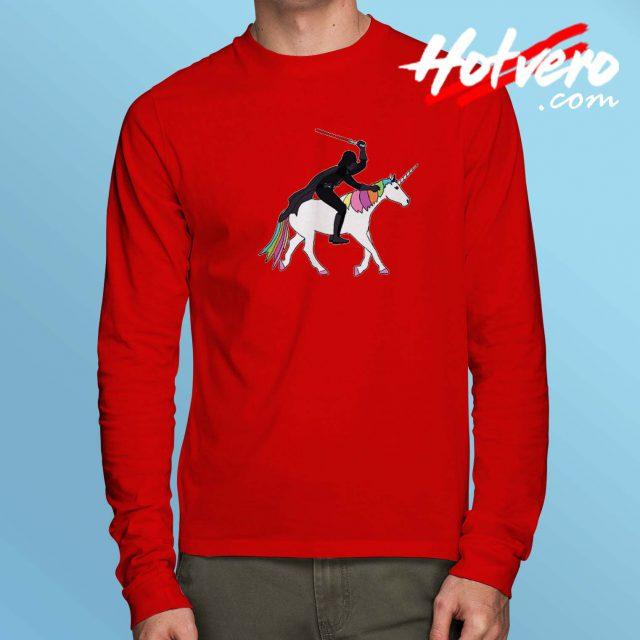 Funny Darth Father Riding Unicorn Long Sleeve Shirt