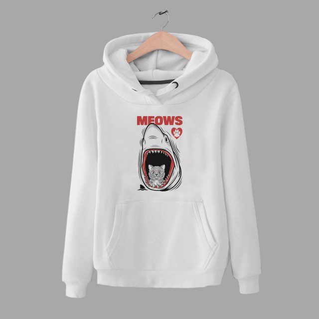 Funny Meows Cat Jaws Unisex Hoodie Parody
