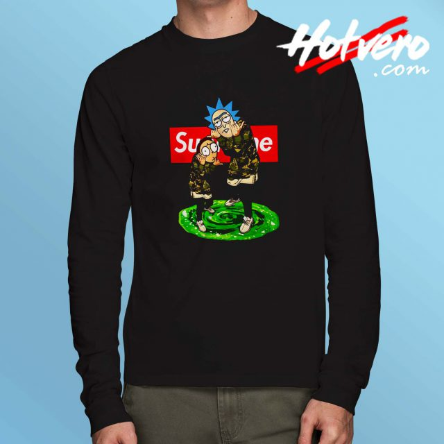 Funny Rick Morty Supreme Parody Long Sleeve Shirt