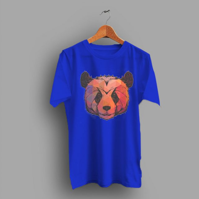 Geometric Color Print Panda Head Bear T Shirt