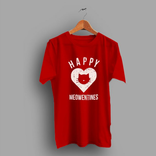Idea For Her Gift Cute Valentines Day Meow Heart T Shirt