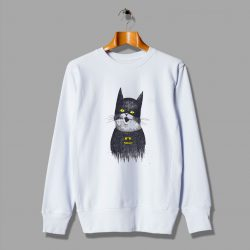 Illustration Cute Cat Of Super White Sweatshirt
