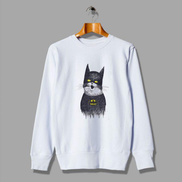 Illustration Cute Cat Of Super White Sweatshirt