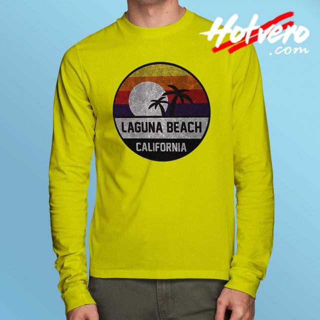 Laguna Beach Retro Sunset Long Sleeve T Shirt
