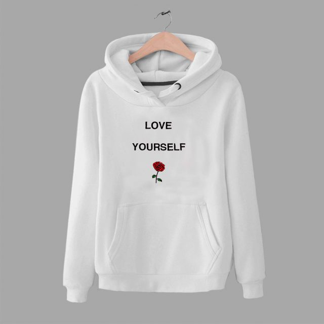 Love Yourself Rose Flower Graphic Hoodie