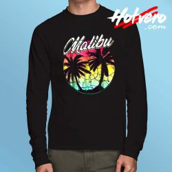 Malibu Beach Vintage Palm Surfing Long Sleeve T Shirt