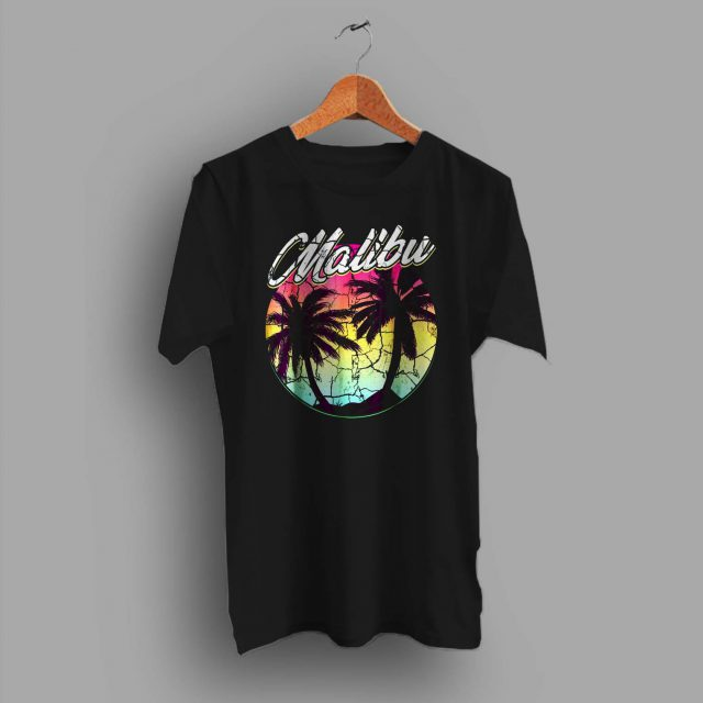Malibu Beach Vintage Palm Surfing Summer T Shirt
